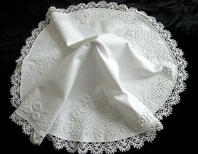Antique Whitework Round Linen Centerpiece Tablecloth Coronation Cord Embroidered