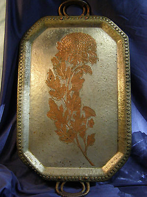 CONTINENTAL TRADE MARK 655 ANTIQUE BEATEN COPPER TRAY Chrysanthemum Arts & Craft