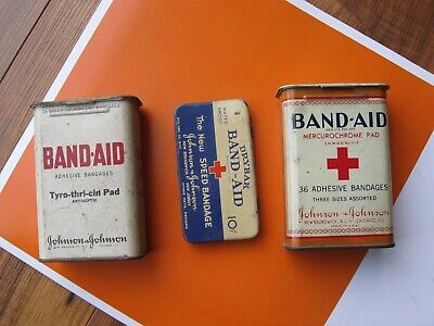 NICE! 3 Antique BAND AID Snap-Top TINS