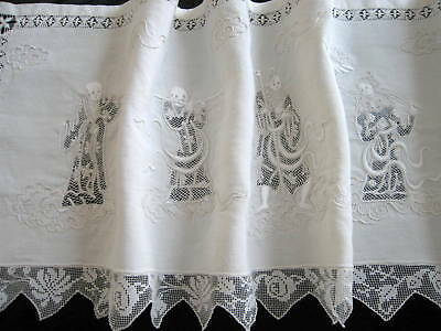 RARE Antique Italian Hand Embroidered Whitework Linen & Lace Runner 8 Immortals