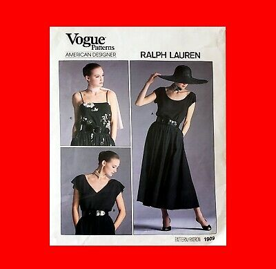 ☆Ralph Lauren Sewing Pattern Women's Vogue 1909 Pulliver Top+Long Flared Skirt!☆