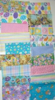18 Patterns Easter Bunnies Eggs Flowers Cotton Quilt Fabric Scraps 5-1/3 Yards