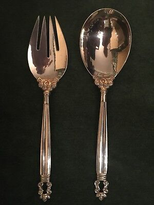 Georg Jensen Sterling Silver Serving Spoon & Fork Acorn Pattern - Price Reduced!