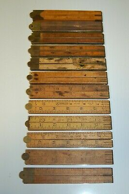 12 Vintage Boxwood Folding Rules - mostly STANLEY Rule & Level Co. & C.S.Co.