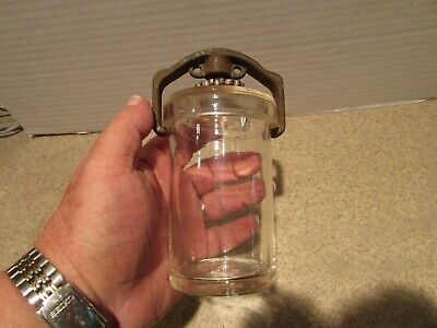 Vintage Whitall Tatum Glass Specimen Jar with Lid and Iron lid closure