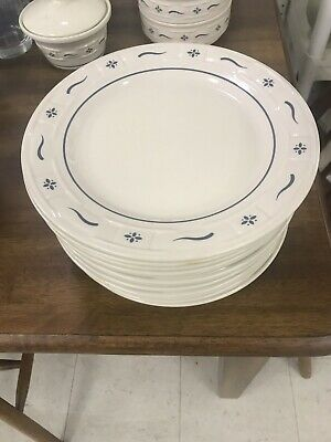 Longaberger Pottery -  Woven Traditions Classic Blue Patern 9 Inch Salad Plate