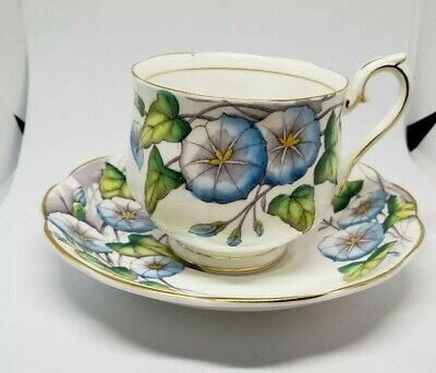 VTG ROYAL ALBERT Bone China England MORNING GLORY Flower Month #9 Cup & Saucer