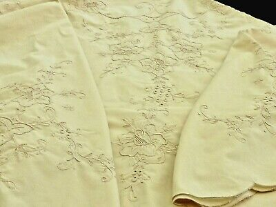 Fabulous Vintage Hand Crafted Madeira Elaborate Tablecloth Unused