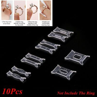 10Pcs Ring Sizer Adjuster Set Clear Silicone Invisible Ring Guard Resizer Fitter