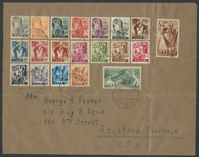 Germany French Zone SAAR 1947 complete set of 20 on 1947 cover