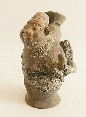 Pre-Columbian Peruvian Chimu Mother and Child Effigy Jar