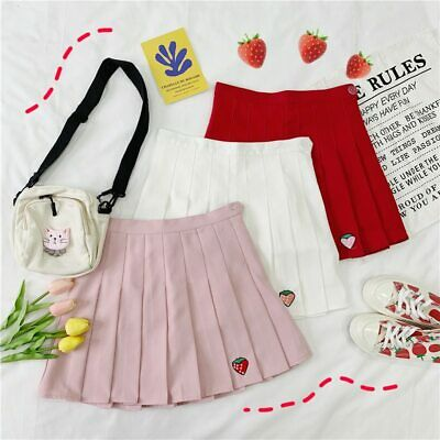 Summer pleated Skirt Embroidery Strawberry Women Mini Tennis Skirt Girls JK Unif