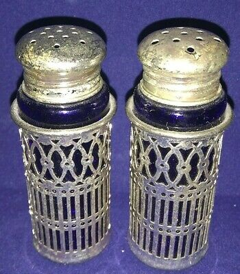 Antique FB Rogers Silverplate Japan Cobalt Glass Salt And Pepper Shakers