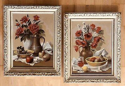 Mid Century Paint By Number Still Life Roses Fruit Wine Framed Paintings