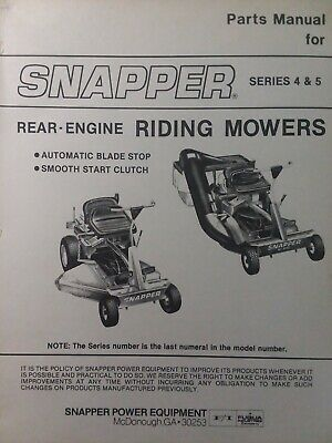Snapper RER series 4 & 5 Rear Engine Riding Lawn Mower Tractor Parts Manual Hi-V