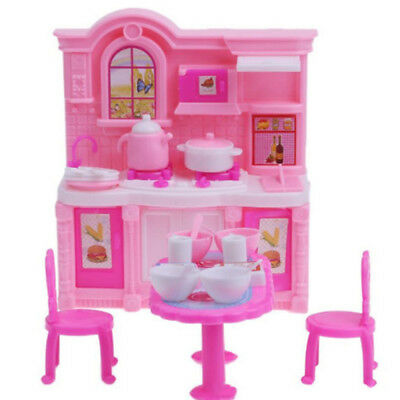 Dolls House Dining Table Chairs Kitchen Cooking Utensils Set for Barbie Doll D9