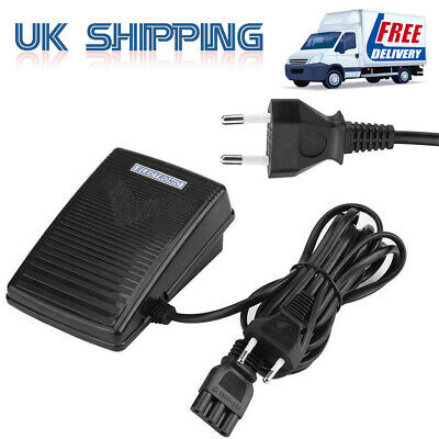 Black Sewing Machine Foot Control Pedal 200V-240V 50Hz UK Plug With Power Cord