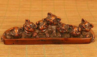 Rare chinese old boxwood hand carved lovely 7 pig propitious statue decoration