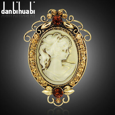 Unisex Gold Plated Rhinestone Cameo Alloy Victorian Style Pendant Brooch Pin