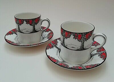 Crown Ducal Orange Tree Vintage Art Deco Espresso Coffee Cups & Saucers x 2