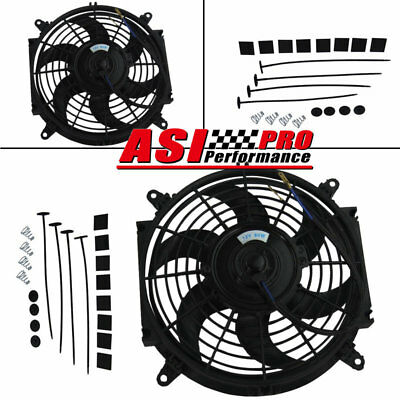 """10"""" 10INCH Electric Cooling Fan Covred FAN +Mounting Kits PULL/PUSH Thermo Fan"""