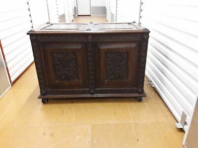 Antique Furniture - Large Dark Oak Detailed Chest With Added Caster Wheels