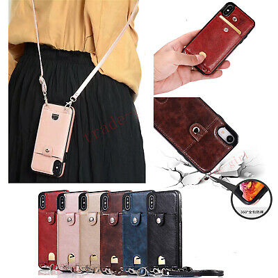 Women's PU Leather Flip Card Slot Holder Crossbody Wallet Strap Back Case Cover
