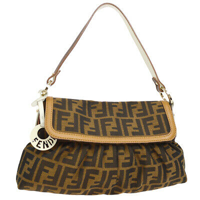 f238d565b2d Authentic FENDI Zucca Pattern Hand Bag Brown White Canvas Leather Italy  S08969