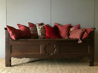 Huge Large French Antique Carved Oak Coffer Window Seat Box Daybed Settle Bench
