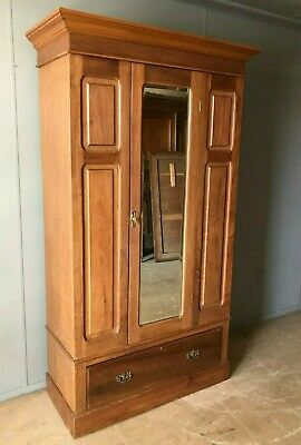 Antique Edwardian Victorian Wardrobe Armoire With A Bevelled Mirror VGC