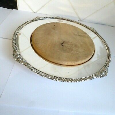 Vintage Quality Silver Plate  Bread Board Holder Coaster By Walker And Hall