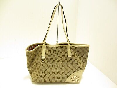 d820f09d7d1a Auth GUCCI New Britt GG Double G 169946 LightBrown Ivory Multi Tote Bag
