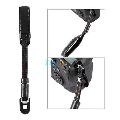 Non-slip Camera Strap Wrist Hand Belt Strap PU Leather Lanyard for DSLR Black