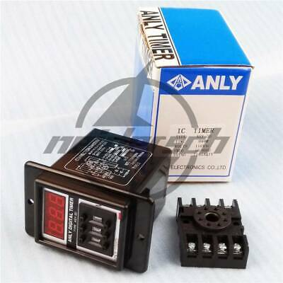 1 set AC 220V Power ON Delay Timer Time Relay with base socket QC ASY-3D