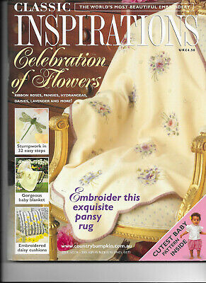 Classic Inspirations Embroidery Iss 29 Stumpwork Baby Blanket Pansy Rug Flowers