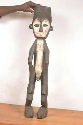 Very old Mbole long statue from DRC, African tribal art