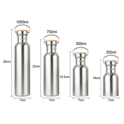 350-1000ml Wide Mouth Drinking Sports Cycling Water Bottle Stainless Steel