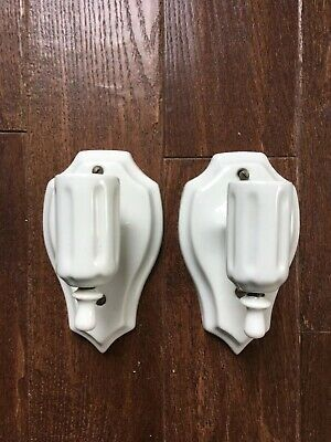 Pair of Vintage Porcelain Wall Mount Sconces  Light Fixtures