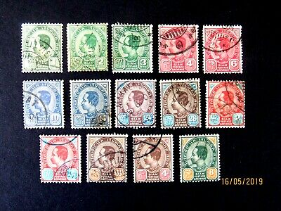 Thailand #75-89, King Chulalongkorn, 1899, Used/F/HR, Complete set