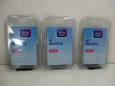 3 Clean & Clear Oil Absorbing Sheets Portable 50 Ct Each Pack Jl 9266