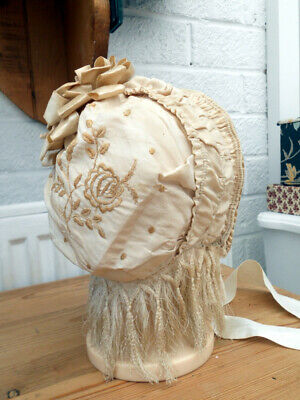 RARE 1890 Victorian Bonnet on a wired frame with Bow, Silk Fringe and Embroidery
