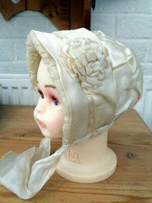 1900 -1920 Silk Bonnet with Silk Trims, frills and ties Excellent condition