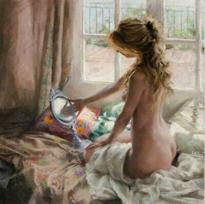 ZOPT414 nude girl catch fish big sea wave hand painted oil painting art canvas
