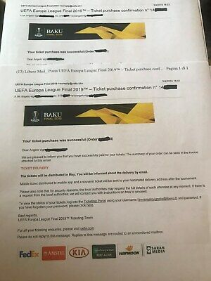 europa league final 4 tickets cat 4 baku  Read my feedback: italian lawyer
