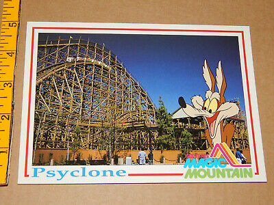 LG POSTCARD Six Flags Magic Mountain PSYCLONE coaster unused xlnt Wile E. Coyote