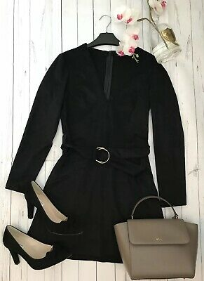 Zara Trf Size S 8 10 black faux suede long sleeve belted party blogger fav dress