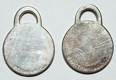 Tiffany & Co. Sterling Silver Round Tag Charm Pendant Lot Of 2 2001