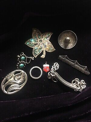 Estate Lot of Sterling Silver Jewelry Mexico, Marcasite (193001)
