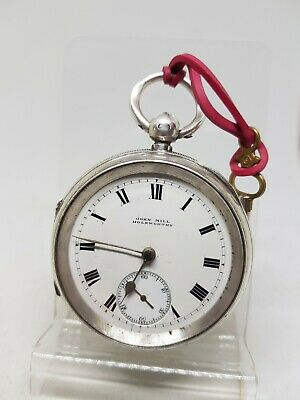 Antique solid silver gents John Mill Holsworthy pocket watch 1912 working ref538