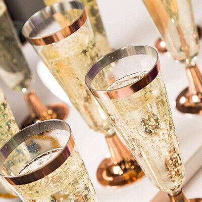 6 Count Wedding Plastic Wine Clear Champagne Flutes Disposable Glasses Cups